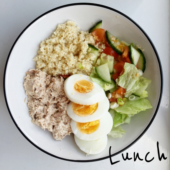 Tuna egg couscous salad